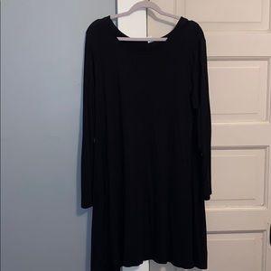 Long sleeve jersey knit swing dress
